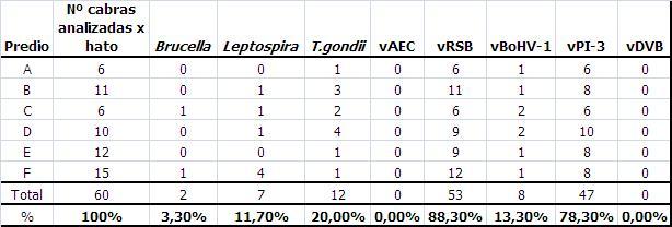 Tabla 3: Número de cabras analizadas por hato y cantidad de seroreaccionantes a diferentes agentes infecciosos.